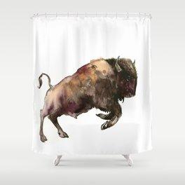 Bison, Bull, animal woodland, bison art, wildlife design Shower Curtain