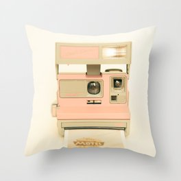 Pink Pola Love vintage camera Throw Pillow