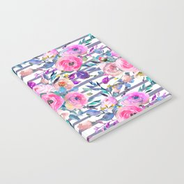 Pink mauve lilac hand painted watercolor roses floral stripes Notebook
