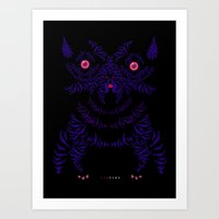 yorkie Art Prints featuring Yorkie by lunesme