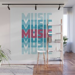 Music (texts in neon) Wall Mural