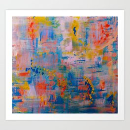 Summer in the Park, Blue Abstract Painting, Abstract wall art Art Print