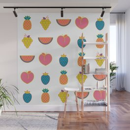 hip summer fruits in Living Coral fun Wall Mural
