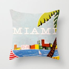Miami Travel Poster Throw Pillow