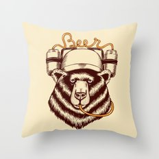 Bear and beer Throw Pillow