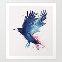 crow Art Prints featuring Bloody Crow by Robert Farkas