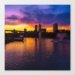 Tulsa Oklahoma Skyline on Fire 1x1 Canvas Print