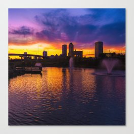 Tulsa Oklahoma Skyline on Fire 1x1 Canvas Print