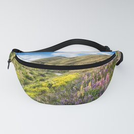 Lupines fields on the side of the road in New Zealand Fanny Pack