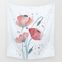 Red poppies in the sun floral watercolor painting Wall Tapestry