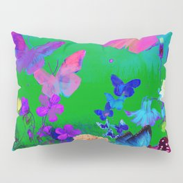 Green Butterflies & Flowers Pillow Sham