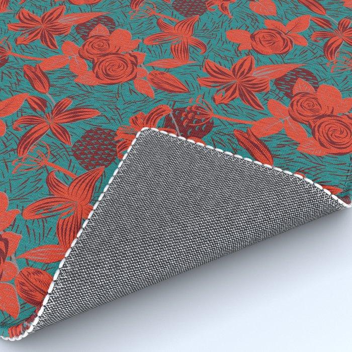 Linocut look in blue with roses Rug