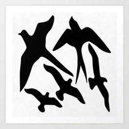 Birder Silhouette Swallow Swift and Seagulls Art Print
