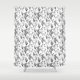 Llama Llamarama + Cactus Pattern Shower Curtain