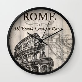 Vintage Travel Poster Rome Wall Clock