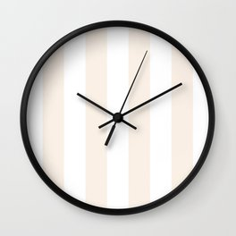 Vertical Stripes - White and Linen Wall Clock