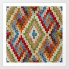kilim rug pattern Art Print