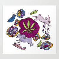 cannabis Art Prints featuring Cannabis Bunnies by Ri 13
