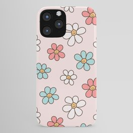 Cute Happy Colorful Smiling Daisies, Retro Smile Daisy Pattern in Soft Girly Pastel Blush, Pink and Mint Color iPhone Case