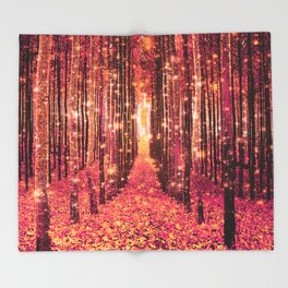 Magical Forest Pink Living Coral Peach Throw Blanket