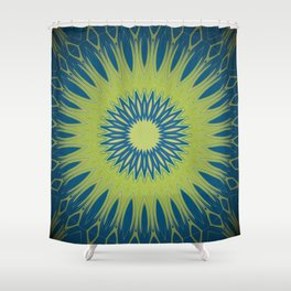 Bright Lime Green and Blue Mandala Shower Curtain
