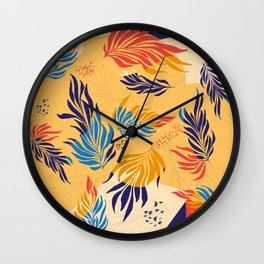 Primary Colors Leaves Wall Clock