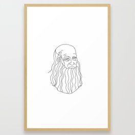 leonardo da vinci portrait by one line Framed Art Print