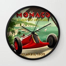 1930's Monaco Grand Prix Poster Wall Clock