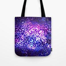 TRIBAL LEOPARD GALAXY Animal Print Aztec Native Pattern Geometric Purple Blue Ombre Space Galactic Tote Bag