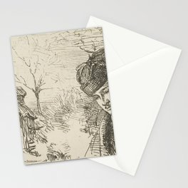 Half-length-of-a-man-in-a-landscape by George Manson Stationery Cards
