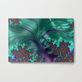 Fractal turquoise feather swirl Metal Print