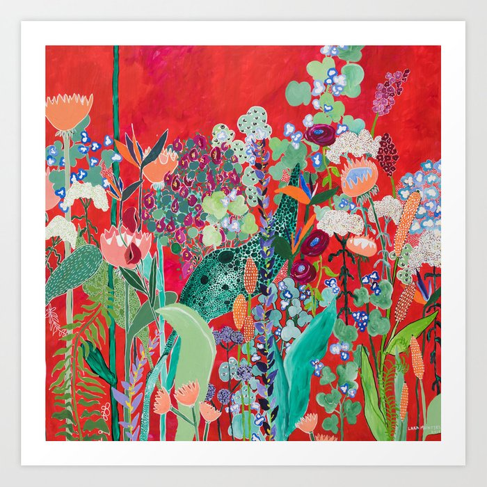 Red floral Jungle Garden Botanical featuring Proteas, Reeds, Eucalyptus, Ferns and Birds of Paradise Kunstdrucke