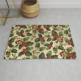 Gold and Red Holly Berrys Rug