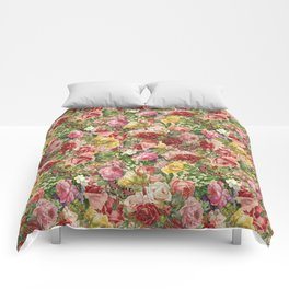 Vintage Retro flower pattern old fashioned Comforters