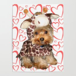 Dog Giraffe Costume | Yorkie with Hearts | Nadia Bonello Poster
