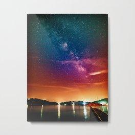 Milky Way over Water Metal Print