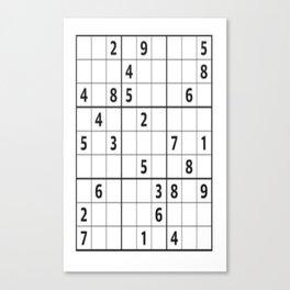 Sudoku Series: Hard Level - Mono Canvas Print