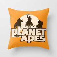 planet of the apes Throw Pillows featuring Planet of the Apes by leea1968