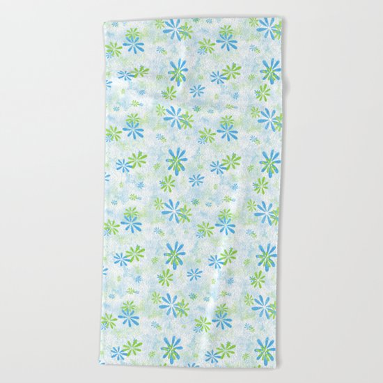 Blue and Green Floral Pattern Beach Towel