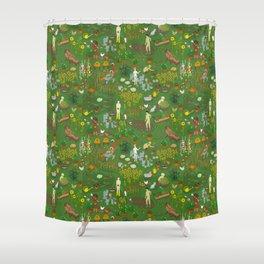 Naked Gardening Day Shower Curtain
