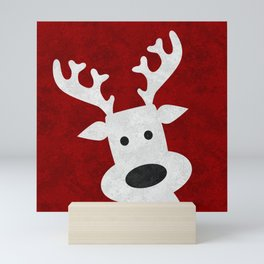 Christmas reindeer red marble Mini Art Print