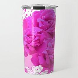 CERISE PINK ROSE PATTERN WATERCOLOR SPLATTER Travel Mug