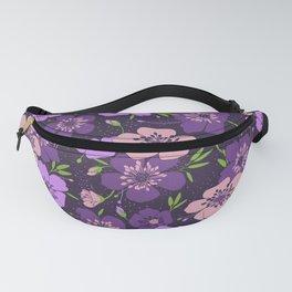 Violet flower pattern Fanny Pack