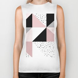 Geometrical pink black gray watercolor polka dots color block Biker Tank
