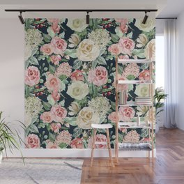Country chic navy blue pink ivory watercolor floral Wall Mural