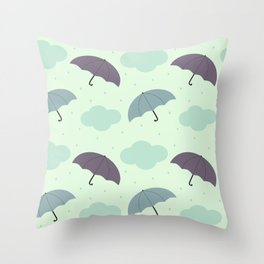 rainy sky with colorful umbrella seasonal pattern Throw Pillow