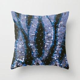 Lavender Classic Blue Sequin Flames Throw Pillow