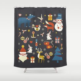 Christmas symbols pattern Shower Curtain