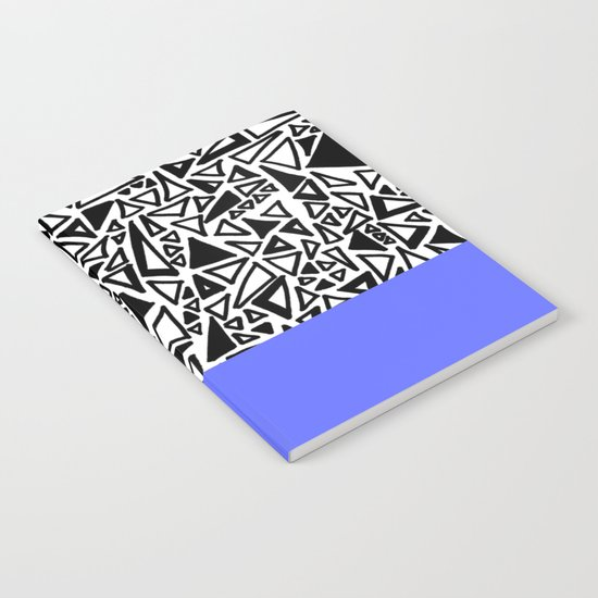 Dark Black and White Triangles Doodle with Blue Notebook