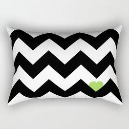 Heart & Chevron - Black/Green Rectangular Pillow